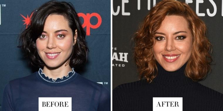 Il prima e il dopo di Aubrey Plaza da un colore capelli nero ad un castano con sfumature rame