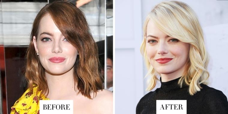 Prima e dopo il cambio di colore di Emma Stone, da castano scuro ad un biondo super naturale