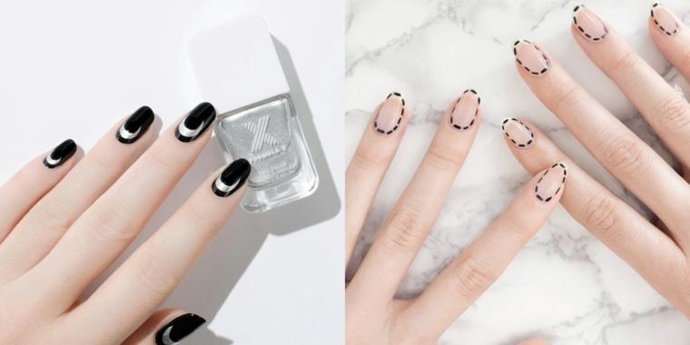 Decorazioni unghie gel, colore smalto nero e beige con vari disegni