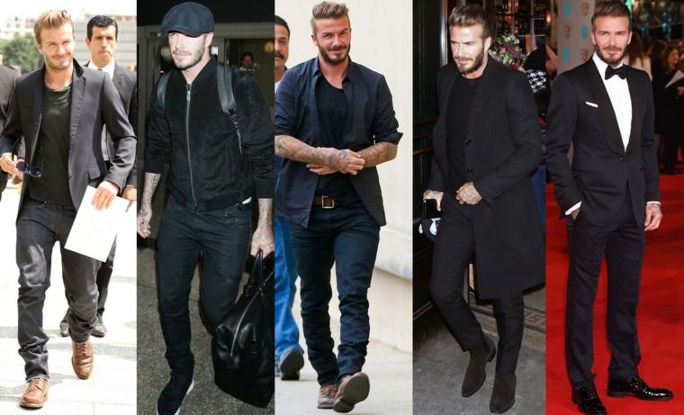 Vestiti sempre casual per David Beckham, giacca di colore scuro e pantaloni