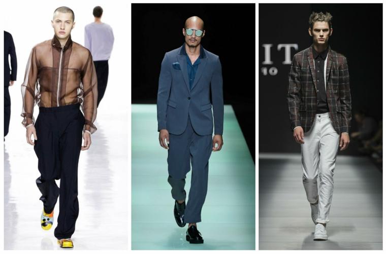 Moda uomo, vestiti eleganti e casual, pantaloni laghi e camicia trasparente effetto rete