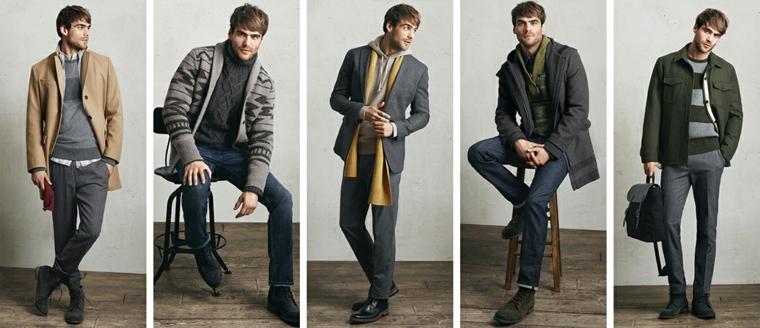 Come abbinare la giacca ad look casual di un uomo, pantaloni e jeans in diverse tonalità di colore