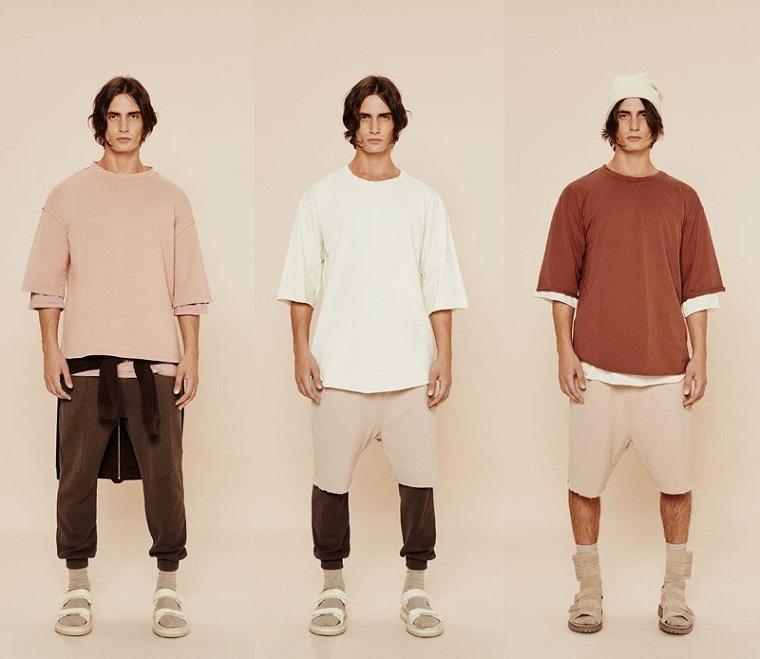 Tre modelli con tute, abbinamento colori vestiti uomo, sandali con calzini