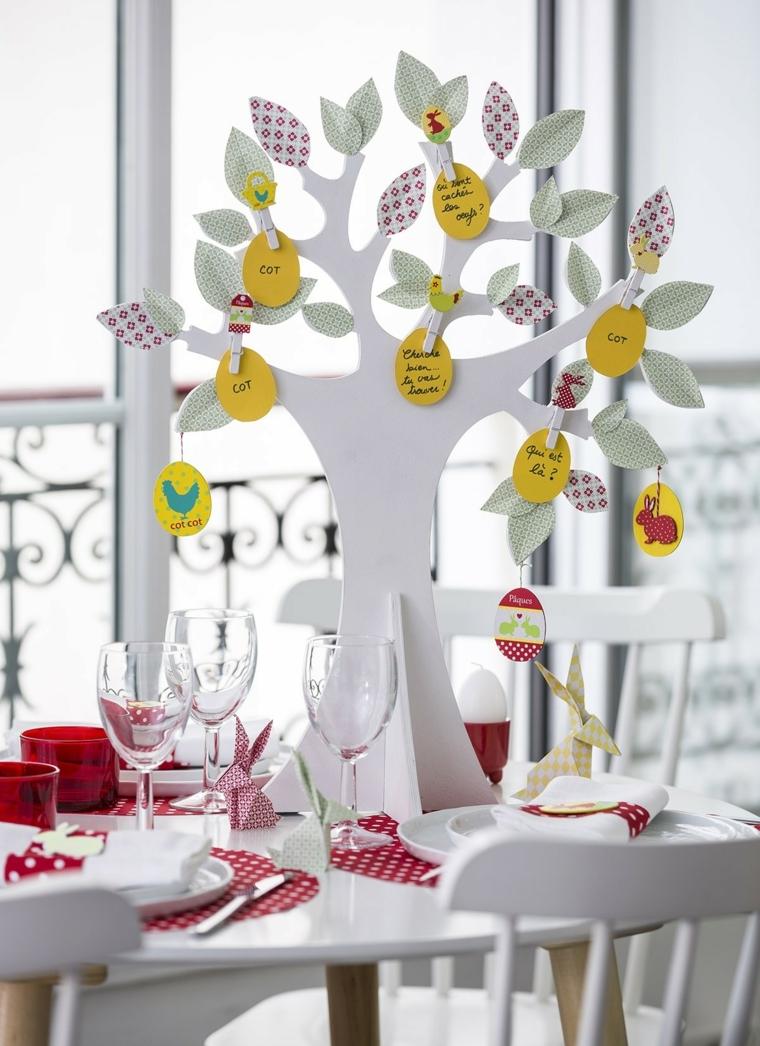 un'idea originale per un centrotavola con segnaposti di pasqua realizzato con un albero e delle uova di carta