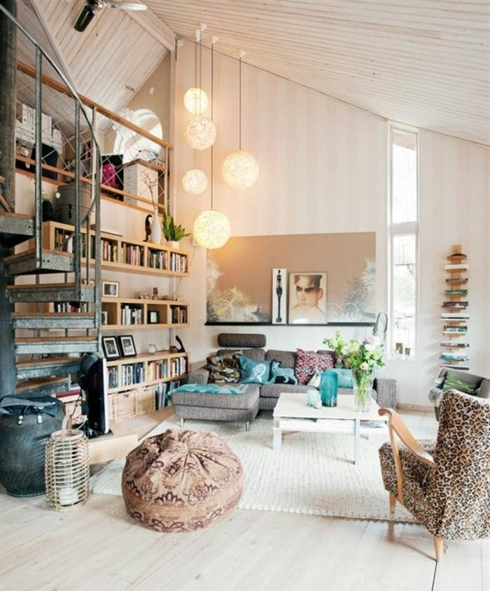Idee per arredare la zona giorno con mobili salotto moderni e decorare con tante mensole in legno fai da te