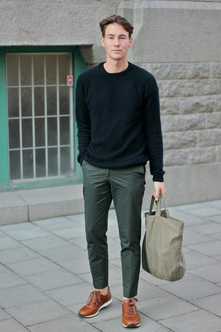 Combinazione abbigliamento uomo in stile casual con pantalone e maglione, outfit uomo