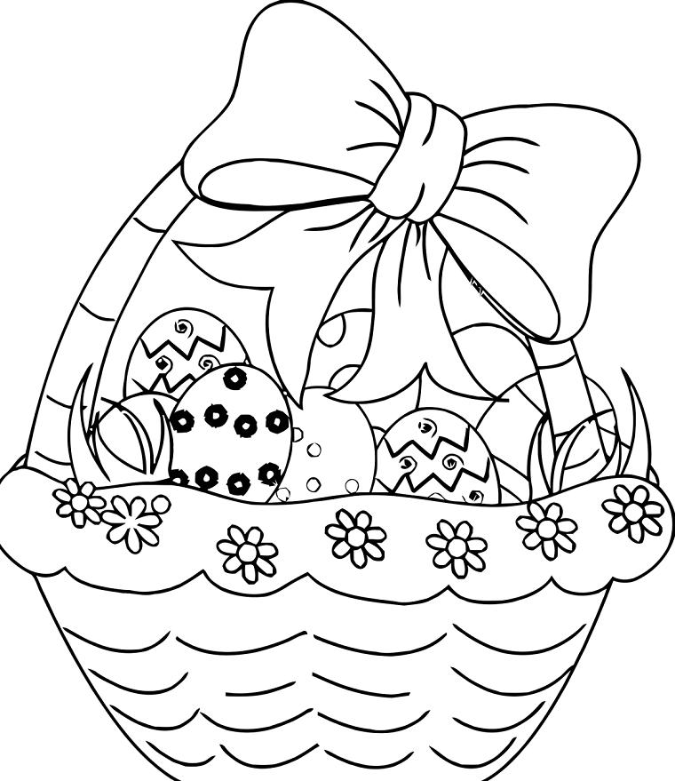 Disegni da colorare e stampare per bambini, cesto con uova di pasqua,  lavoretti pasquali