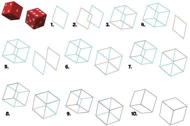Disegno di due dadi, Immagini da disegnare dacili, tutorial con dieci step