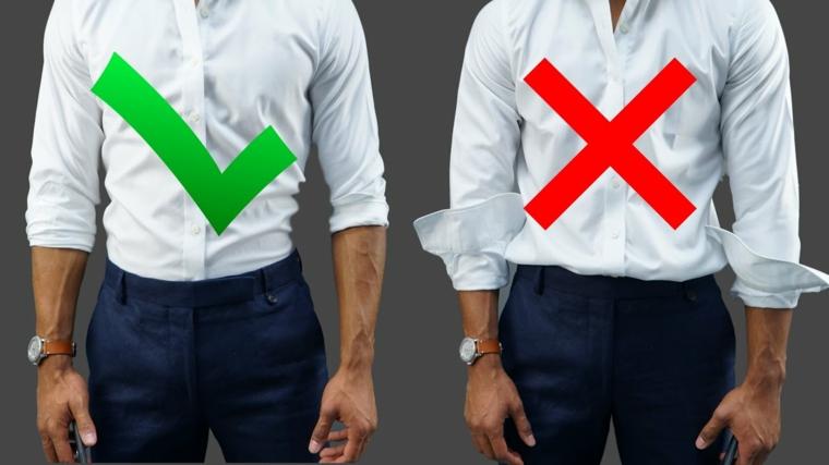 Modo di portare la camicia bianca infilata nei pantaloni, maniche con risvolto