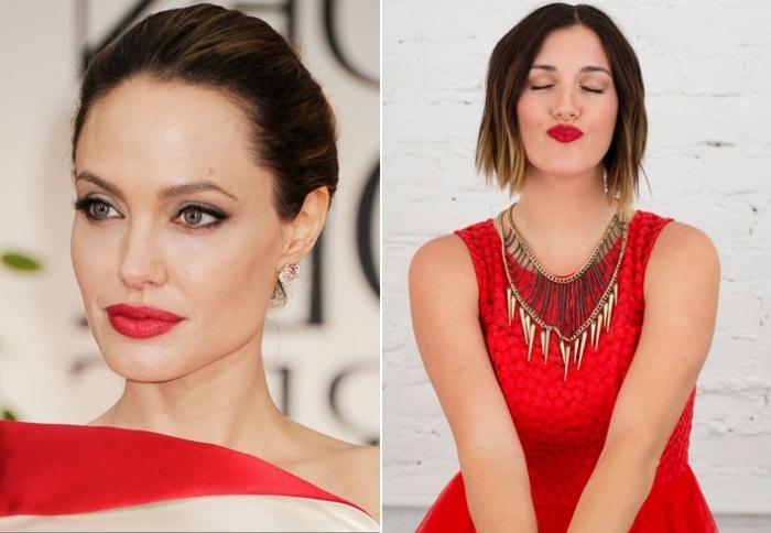 due proposte di trucco rossetto rosso abbinato ad abiti della stessa tonalità