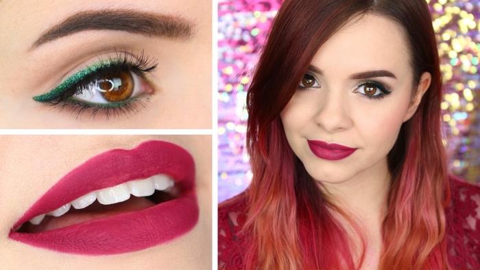 una ragazza con il rossetto rosso-viola, gli occhi marroni truccati con della matita verde