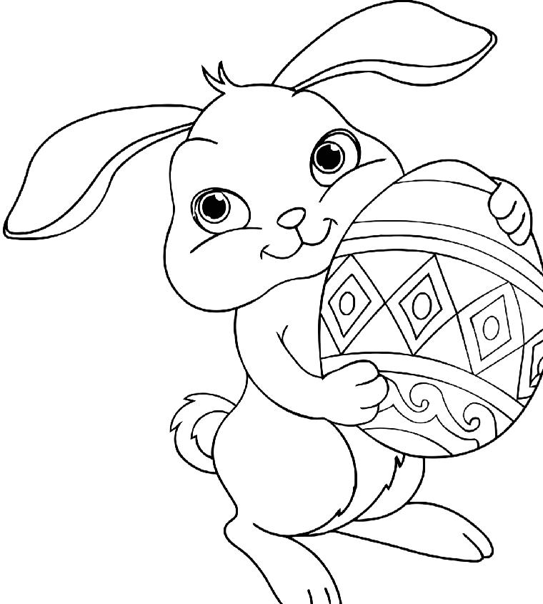 Disegno bambini da colorare, coniglietto che tiene un uovo, lavoretti di  pasqua semplici