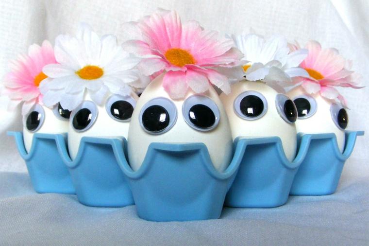 un'idea per come decorare le uova di pasqua con dei grandi occhi e delle margherite