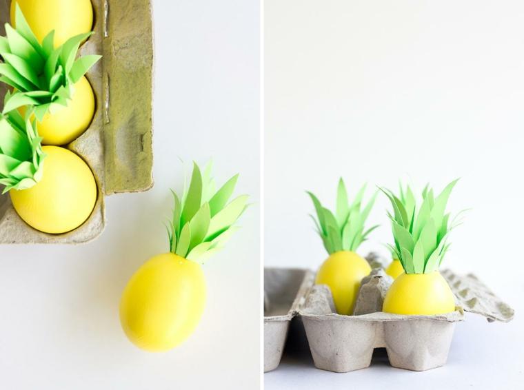 idee colorate per realizzare delle decorazioni pasquali con le uova colorate di giallo con un ciuffo verde di ananas