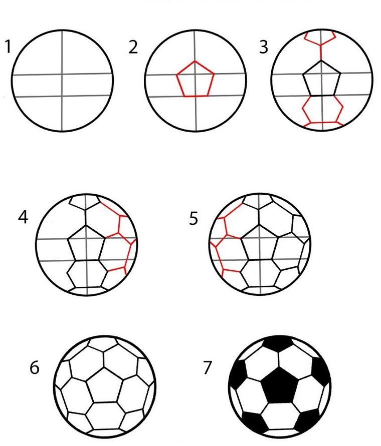 Modo facili per disegnare un pallone, disegni per bambini con spiegazioni