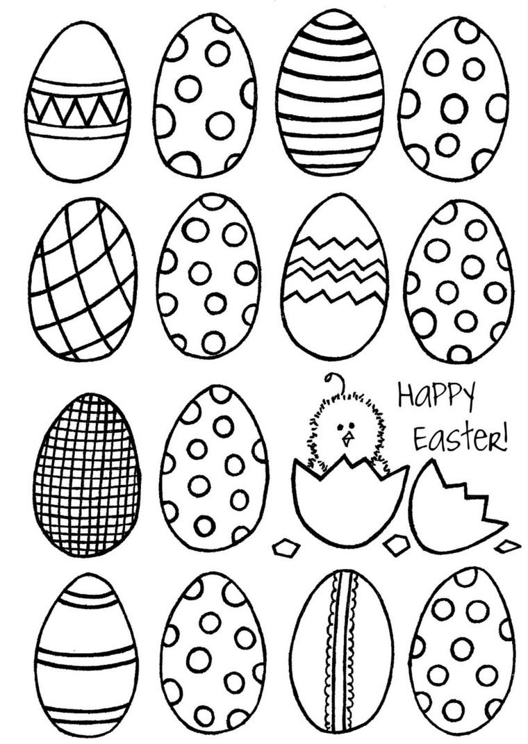 Lavoretti di pasqua semplici, tante uova disegnate da colorare, pulcino e scritta in inglese