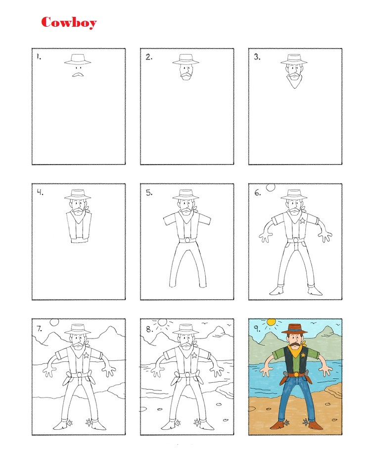 Come disegnare un cowboy, tutorial per disegni tumblr facili
