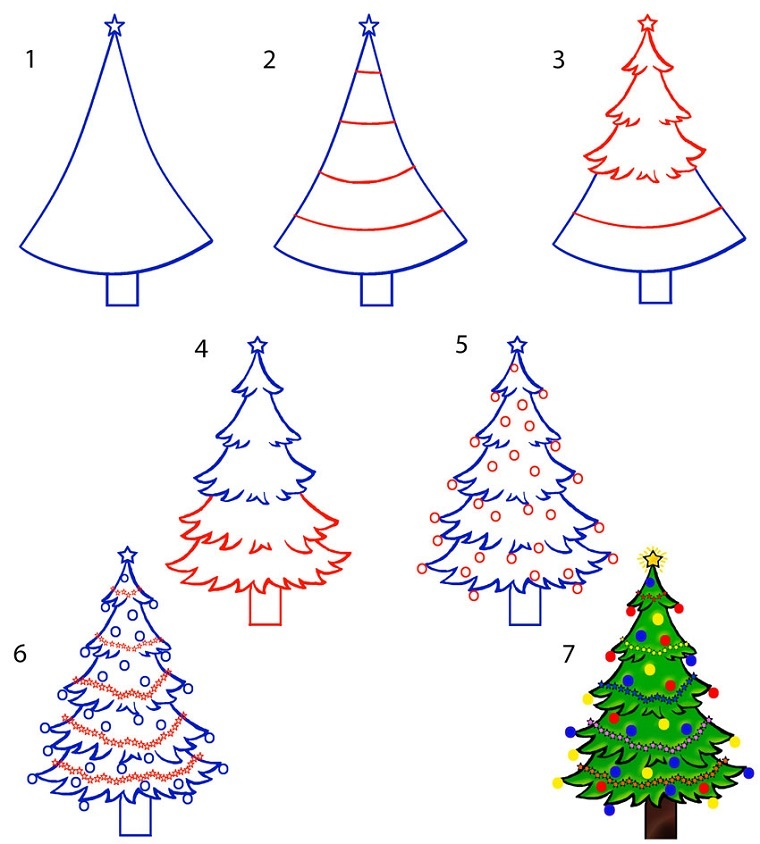 Idea disegni facili da fare, come disegnare un albero di Natale con le decorazioni