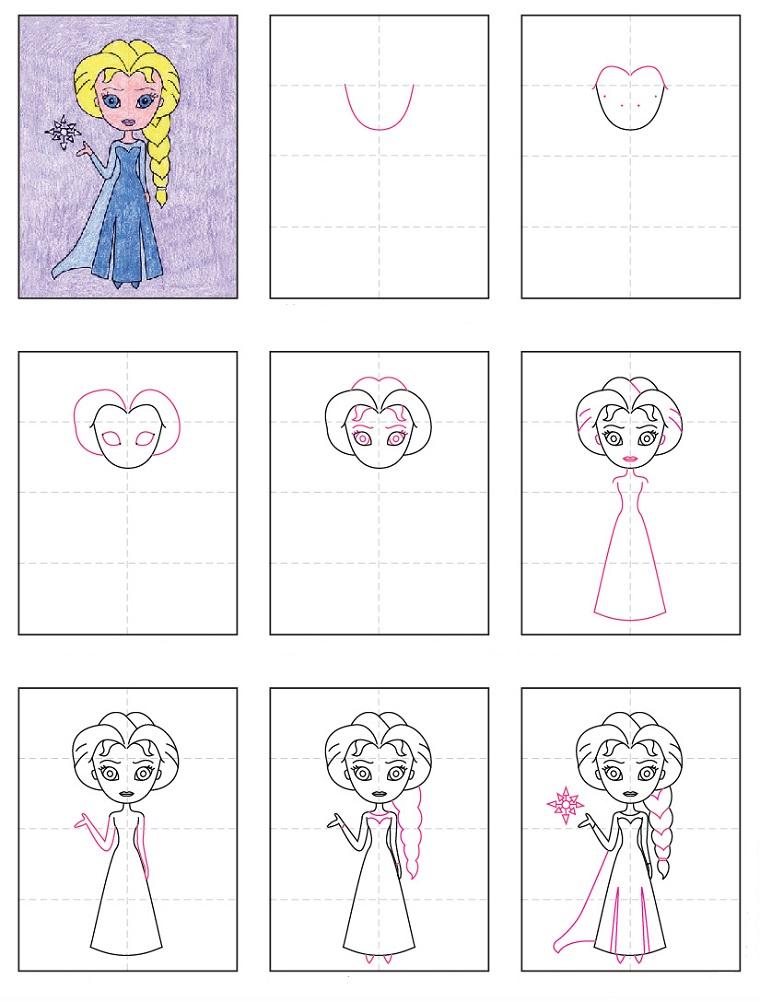 Arte creativa per bambini, disegni facili da copiare per bambini, elsa dal cartone animato Frozen