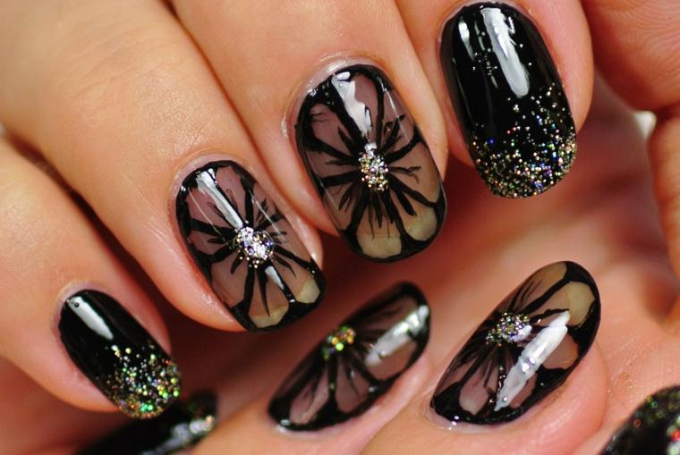 Come decorare le unghie, smalto colore nero, disegno fiori con centro colore argento glitter