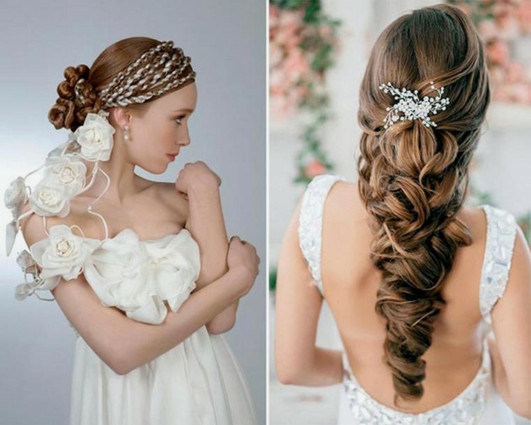 due proposte di pettinature raccolte ideali per una sposa, una con delle trecce, l'altra con un fermaglio bianco