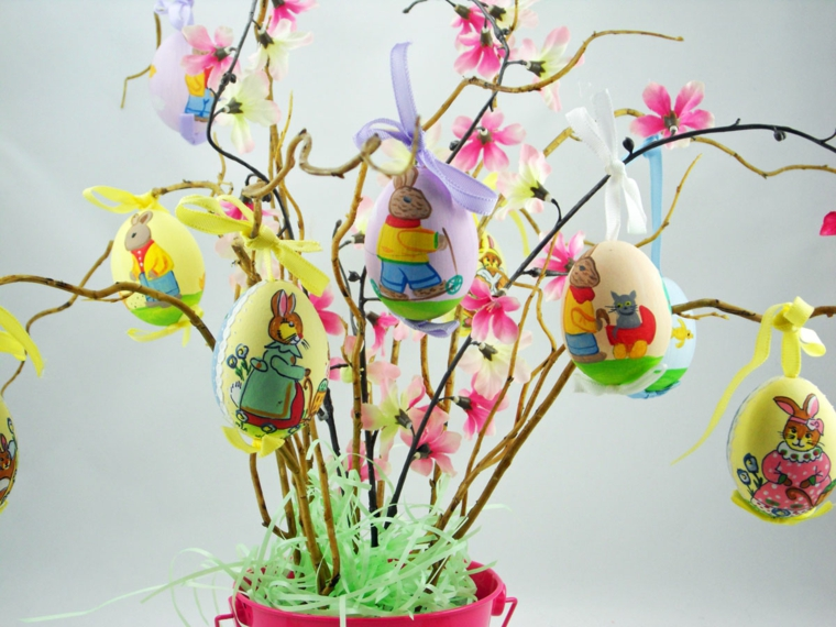 primo piano delle uova decorate con dei conigli appese ad un albero di pasqua fa da te