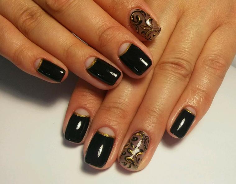 Idea per una french manicure inversa trasparente, smalto colore nero, disegni unghie motivi floreali