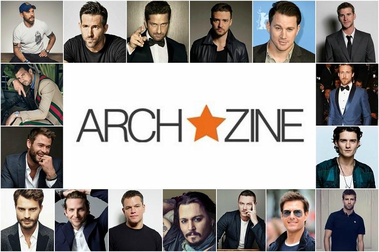Foto collage di foto di attori famosi, uomini sportivi e cantanti, logo archzine