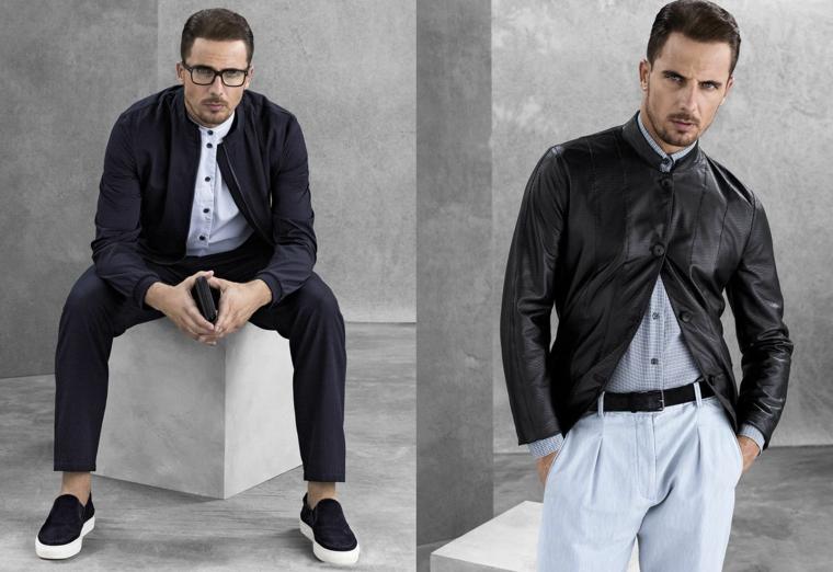 Come combinare la giacca in pelle e in tessuto ai pantaloni, uomo modello con occhiali da vista