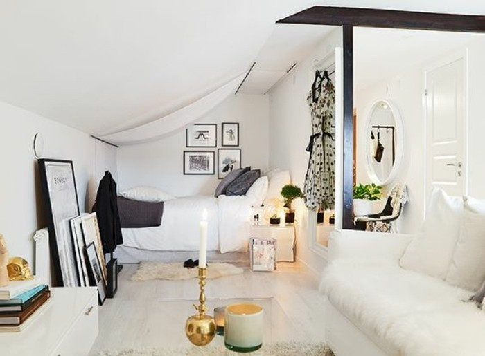 Camera da letto e soggiorno insieme, decorazioni e accessori di design