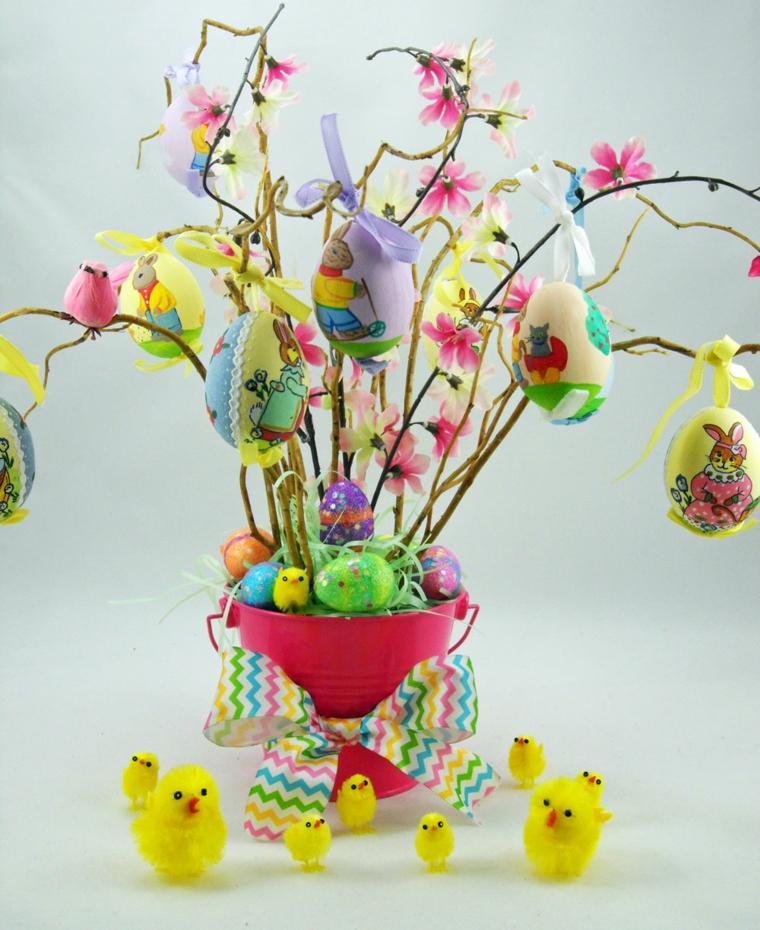 1001 idee per realizzare un albero di pasqua fai da te originale - Decorazioni uova pasquali per bambini ...