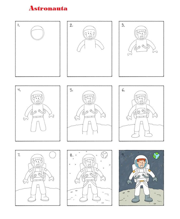 Come disegnare un astronauta, disegni a matita da fare dai bambini