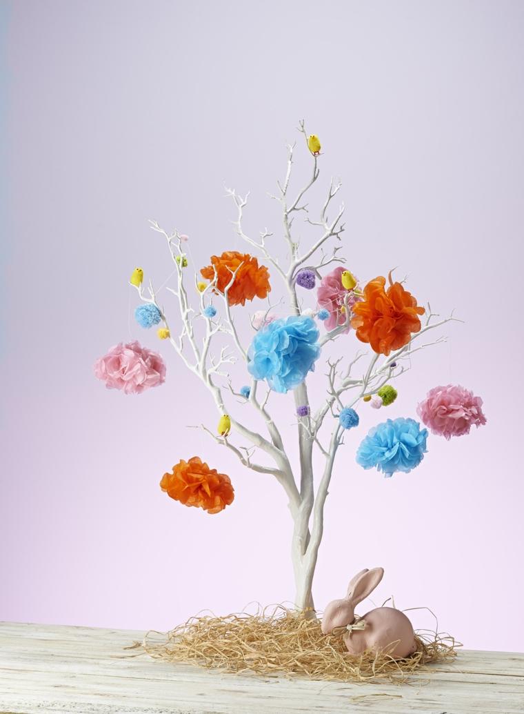 come realizzare un albero di pasqua con dei pon pon arancioni, azzurri e rosa e dei pulcini gialli