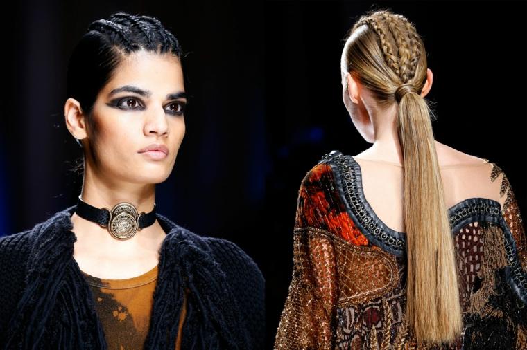 proposte per raccolto capelli di tendenza con una coda bassa e delle trecce al centro