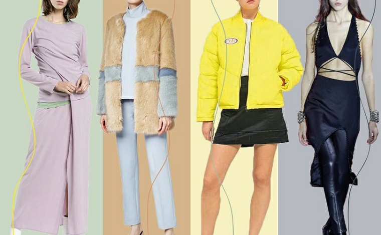 Proposte di vestiti casual, gonne e pantaloni stretti di vario colore