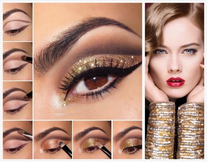 tutorial per realizzare un trucco rossoetto rosso, con eye liner nero e ombretto marrone e dorato