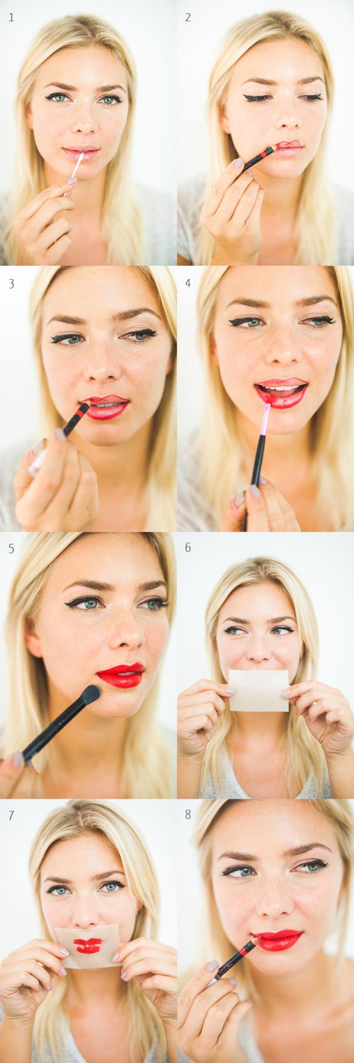 tutorial per realizzare un trucco rossetto rosso con pennello e matita, ragazza bionda con gli occhi azzurri