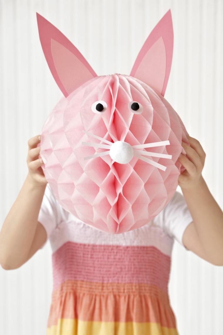 Maschera di colore rosa per bambina, testa di un coniglietto con nasino, orecchi e occhi