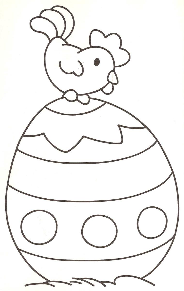 Disegno di un uovo grande da colorare con gallo, lavoretti di pasqua fai da te