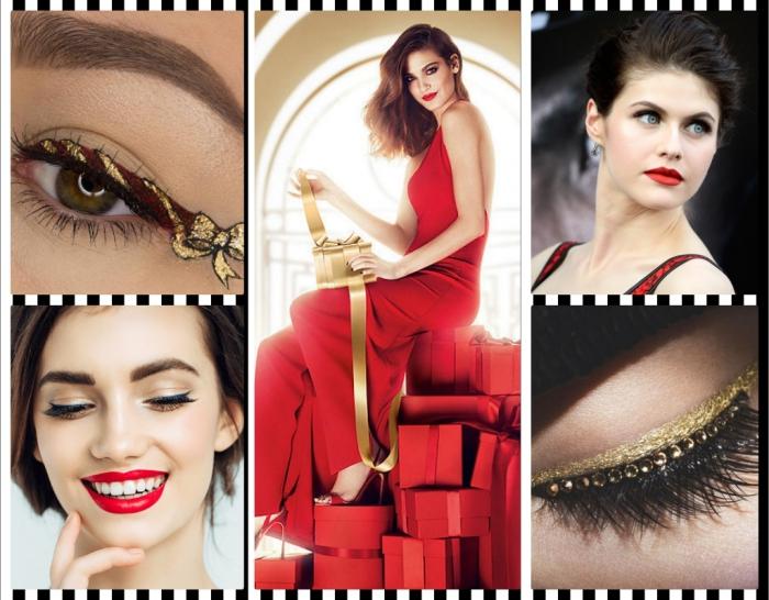 trucco per natale, rossetti rossi, eye liner nero e fiocco dorato, vestito rosso elegante