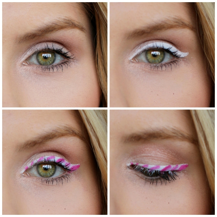 tutorial per imparare a truccarsi, una ragazza con gli occhi verdi e un eye liner bianco e rosa