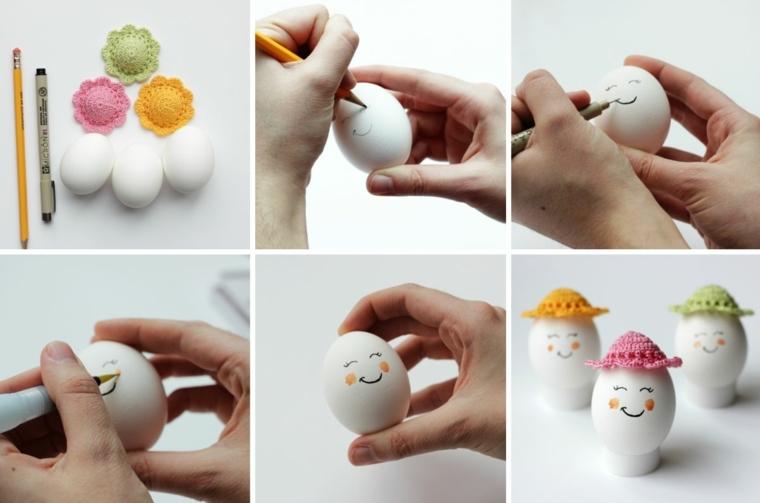 un tutorial per decorare uova di pasqua disegnando bocca, occhi e guance e applicando dei cappellini colorati