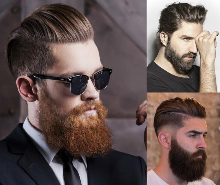 tre immagini di uomini con un look hipster, uno dei quali con occhiali scuri