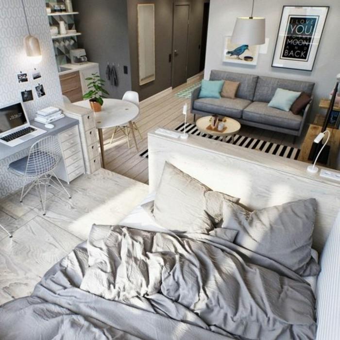 Come arredare salotto piccolo nella tonalità di colore grigio