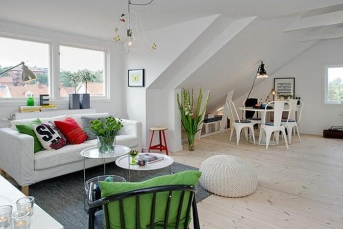 Salone moderno in un open space decorato con un tappeto grigio e vasi con piante
