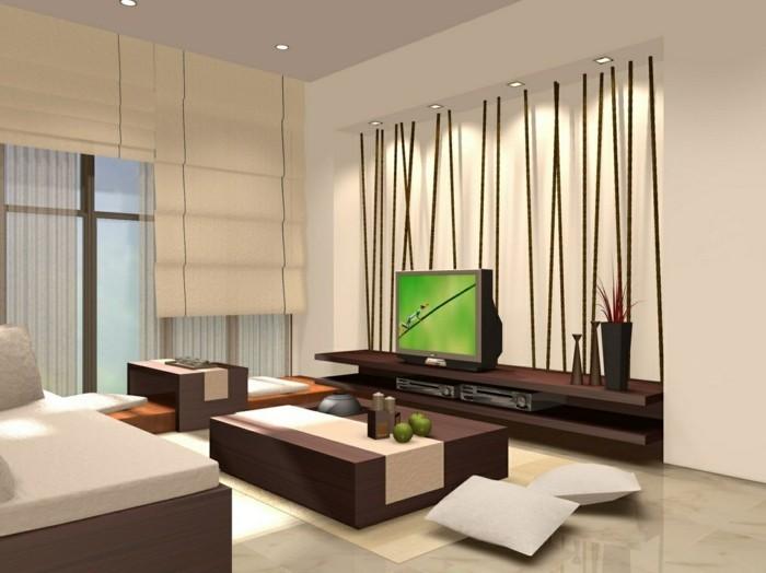 Idea per un salone moderno con mobili in legno e parete decorata
