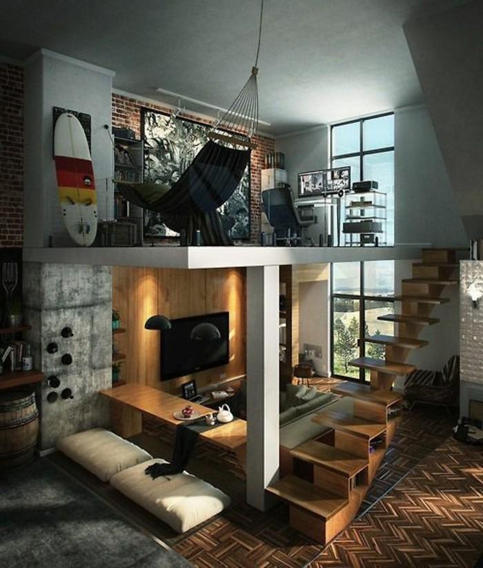 Mobili soggiorno in legno moderni per arredare e decorare un monolocale con soppalco