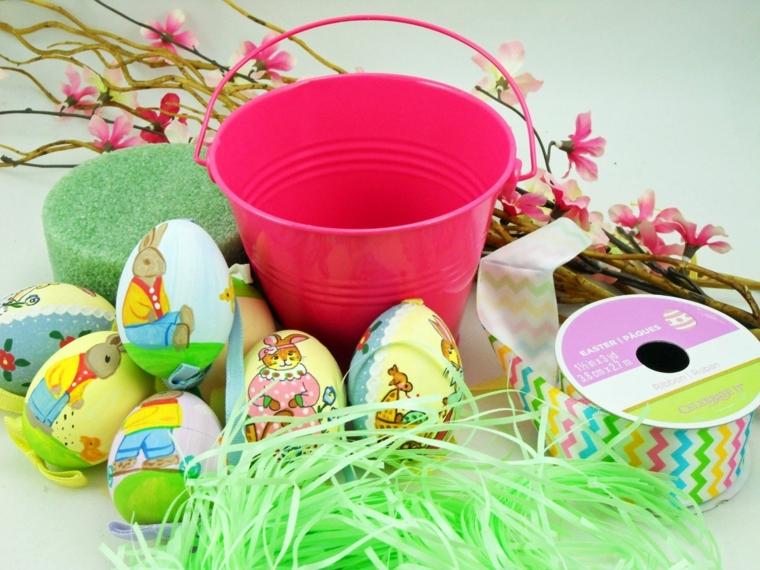 il necessario per realizzare fai da te un albero di pasqua con rami di mandorlo e uova decorate