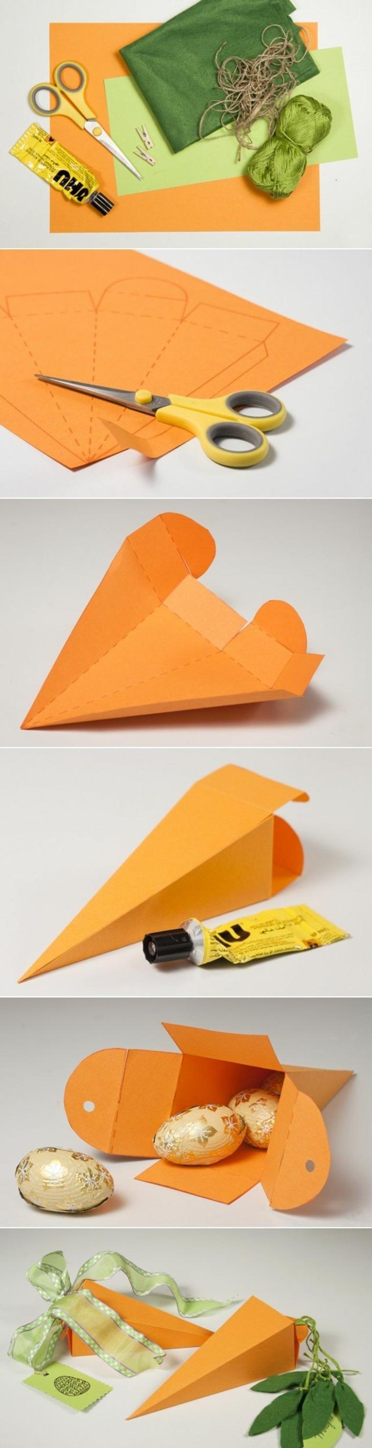 come dare forma ad un contenitore per le uova pasquali a forma di carota con del cartoncino