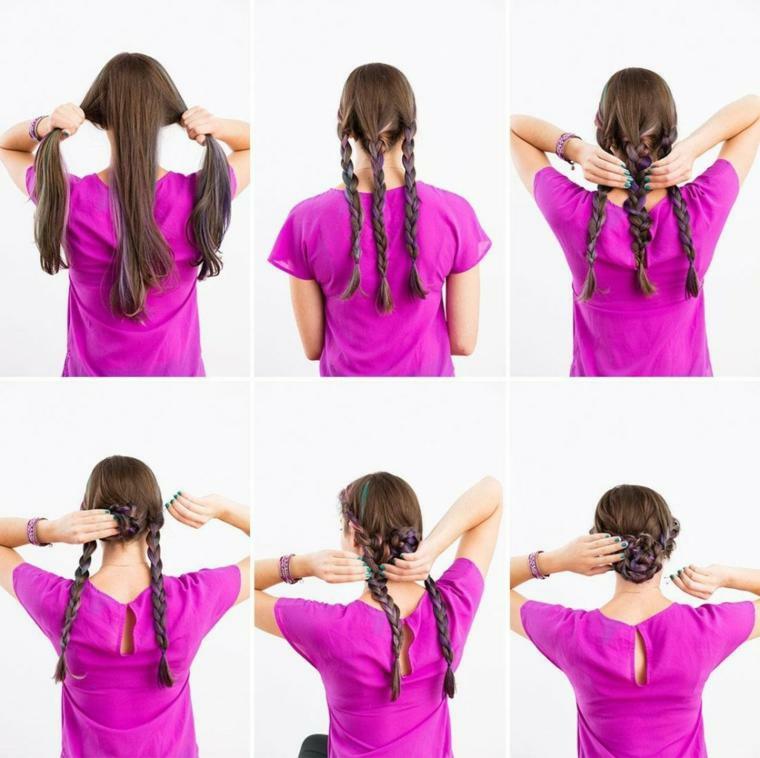 un'idea per delle pettinature capelli facili da realizzare con tre trecce raccolte in uno chignon